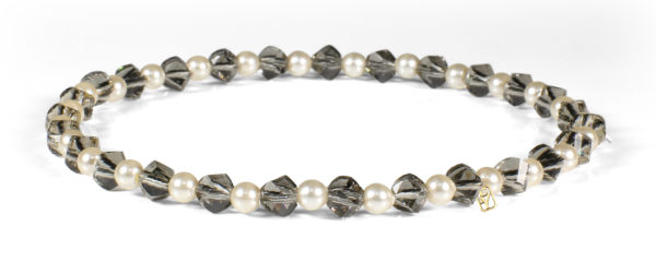 Black Diamond Swarovski Crystals and Pearls Bracelet