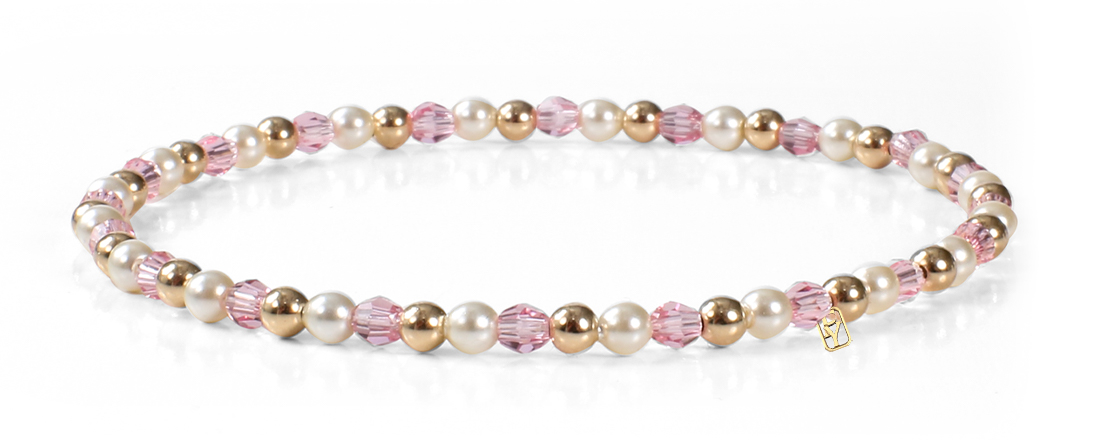 Rose Swarovski Crystal, Pearls and 14kt Bracelet