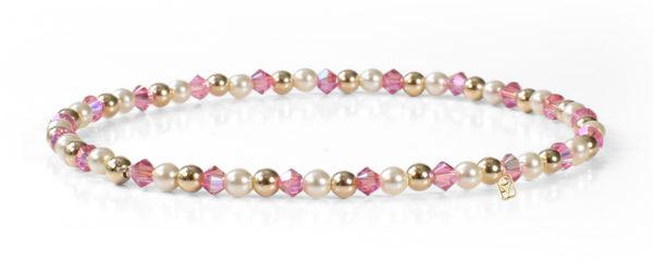 Rose Shimmer Swarovski Crystals, Pearls and 14kt Gold Bracelet