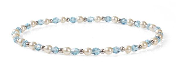 Light Sapphire Swarovski Crystals, Pearls and 14kt White Gold Bracelet