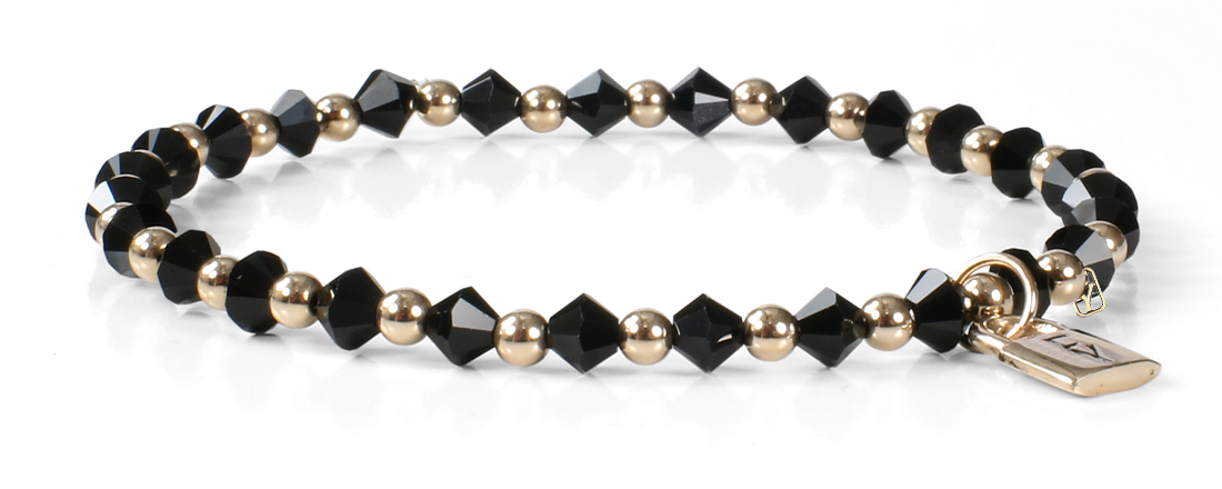 Signature FY Lock Collection with Black Crystals and 14kt Gold.