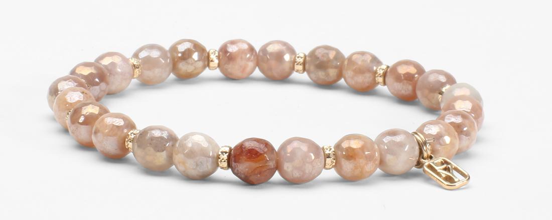 Peach Moonstone Gemstone and 14kt Gold Diamond Cut Spacers Bracelet