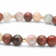 Peach Moonstone and African Bloodstone Gemstones mixed with Wood and 14kt gold Bracelet