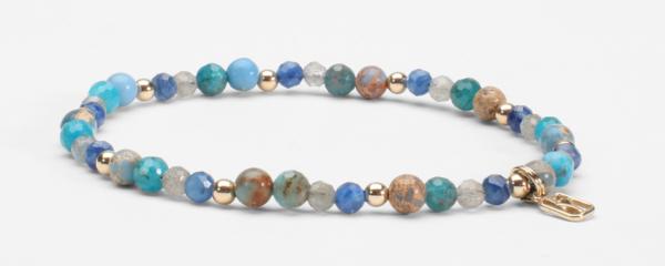 Lapis, Pacific Blue Apatite, Labradorite, Carolina Blue Jasper and 14kt Gold Bracelet