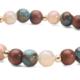 Peach Moonstone, Sea Blue Opal Bronzite, Wood an 14kt Gold Bracelet