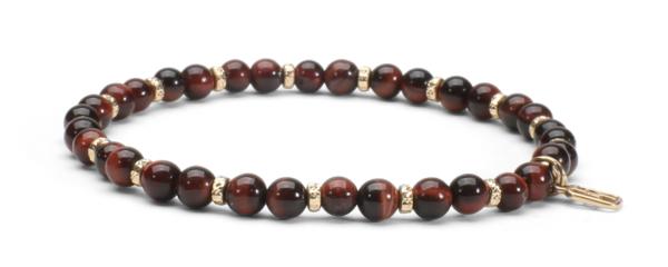 Red Tiger Eye Gemstone and 14kt Gold Bracelet