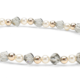 Black Diamond Crystals, Pearls and 14kt Gold Bracelet