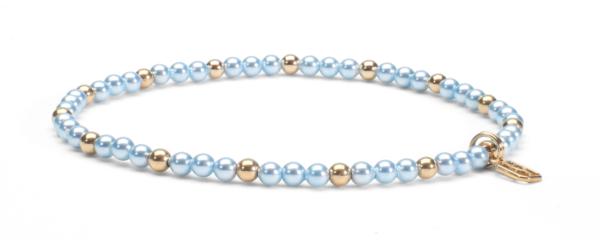 Blue Swarovski Pearls and 14kt Gold (Mother to Be Bracelet)