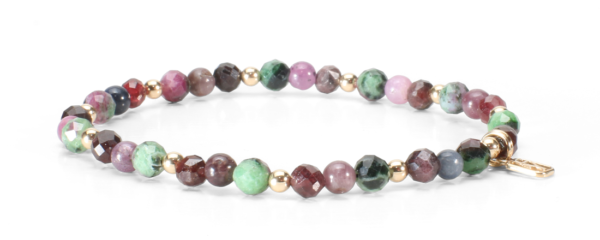 Ruby Zoisite, Garnet and mixed Ruby and Sapphire gemstone with 14kt gold