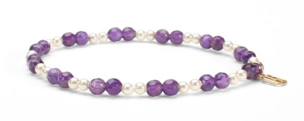 Dogtooth Amethyst Gemstone and Pearl Bracelet