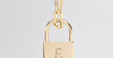 Gold Lock Necklace with Diamond